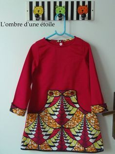 Couture enfant#robe#Louisa dress#Compagnie M#Tissu africain#Wax#Bouton fimo# Couture invisible#