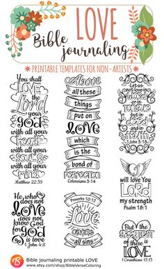 LOVE - 7 Bible journaling printable templates, instant download illustrated christian faith bookmarks, black and white prayer journal bible verse traceable stencils, bible stickers.