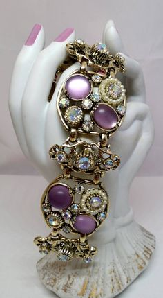 Chunky Selro Corp AB Rhinestone Purple Bracelet, Wide Aurora Borealis Faux Pearl Gold Tone Costume Jewelry by Snowyowltreasures on Etsy