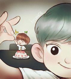 Chanbaek Fanart, Exo Chanbaek, Kpop Fanart, Exo Ot12, Exo Cartoon, Exo Anime, Exo Couple, Exo Fan Art, Exo Lockscreen