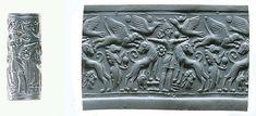 Cylinder seal: Master of Animals between lions, griffins, Minoan genius. Late Cypriot II, hematite, ca. 14th century B.C.