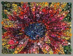 """""""We're celebrating with Susan Bianchi's incredible incorporation of buttons into her quilts! 🎈 Quilts featured: """"Albuquerque Sky"""" """"Be Well"""" """"Red Sunflower"""""""" Quilt Festival, Button Art, Button Crafts, Button Moon, Sunflower Quilts, Sunflower Art, Red Sunflowers, Embroidery Transfers, Embroidery Thread"""