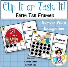 This farm themed ten frame number word recognition Clip It or Task It card set makes for an engaging math center activity for year around fun.  Use this set as clip cards and your students will practice matching the correct number word with the ten frame image on the cards and enhance their fine motor skills at the same time. Just add clothespins and let the fun begin.  Use this set as task cards with the recording sheet and answer key  by BKB Resources   Teachers Pay Teachers