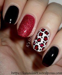 series – I is for inspired – K's NailArt Cat Nail Designs, Fingernail Designs, Colorful Nail Designs, Leopard Print Nails, Red Leopard, Cute Nails, Pretty Nails, Valentine Nail Art, Diva Nails