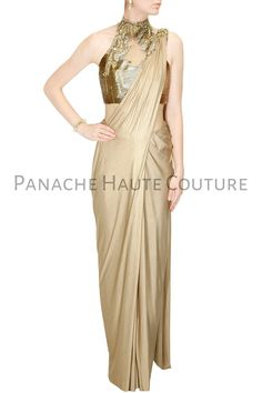 Buy Gold shimmer pre stitched drape sari with embroidered blouse online in India at best price.Gaurav Gupta presents Gold shimmer pre stitched drape sari with embroidered blouse available only at Indian Designer Sarees, Designer Sarees Online, Indian Designer Outfits, Indian Outfits, Saree Gown, Satin Saree, Silk Satin, Indowestern Gowns, Drape Sarees