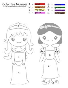 princess-color-by-number Princess Activities, Princess Crafts, Princess Theme, Visual Motor Activities, Fine Motor Activities For Kids, Learning Activities, Color Worksheets For Preschool, Kindergarten Worksheets, Princess Coloring Pages