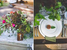 Glamping Styled Wedding Photos with overflowing greenery, pincones and rustic details // Friday Harbor by local Tacoma Wedding Photographer Rebecca Anne Photography.