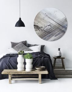 New circle art, deep circular shape canvas with dynamic slate grey colours. A unique abstract painting - part of an expanding range on our website of Silver Wall Art products - we have a large selection of circular artworks.