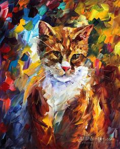 Cat Wall Art - My Friend — Palette Knife Animal Oil Painting On Canvas By Leonid Afremov. Size: X Inches cm x 50 cm) Palette Knife Painting, Oil Painting Reproductions, Oil Painting On Canvas, Canvas Art, Beautiful Paintings, Oeuvre D'art, Monet, Cat Art, Original Paintings