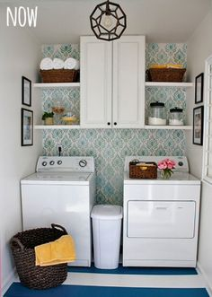 Laundry Room Makeover on a Tiny Budget {Home Decor} Jars for the detergent, shelves and wallpaper are very good ideas!