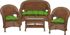 3478 Steel Frame Peanut Butter Wicker 4 Piece Set with Solid Lime Green Cushions by Flash Furniture. $564.99. Durable corrosion resistant steel frame Handwoven vinyl all-weather wicker Can be used indoor/outdoor Includes matching Loveseat, 2 Chairs, and Coffee Table Also includes matching seat-cushion set as shown Made of eco-friendly materials and CA 117 compliant foam DO NOT USE BLEACH ON THIS PRODUCT Loveseat Dimensions: 49.5''W x 24''D x 36''H Chair Dimensions: 2...