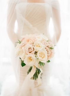 Pink rose bouquet: http://www.stylemepretty.com/2014/01/16/paris-destination-wedding-at-hotel-crillon-part-ii/ | Photography: KT Merry - http://www.ktmerry.com/