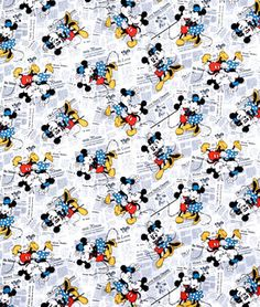 Springs Creative Disney Mickey & Minnie Vintage All Over The News Fabric