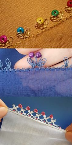 Boncuk Oyası Modelleri Border Embroidery, Ribbon Embroidery, Embroidery Stitches, Baby Knitting Patterns, Sewing Patterns, Crochet Patterns, Saree Tassels Designs, Knit Shoes, Crochet Baby Clothes