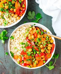 This easy vegan Chickpea Coconut Curry is healthy and FULL of flavor. Ready in less than 30 minutes, not too spicy, and perfect for fast weeknight dinners.
