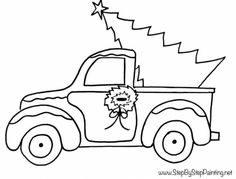 Traceables Free Traceables - Step By Step Painting Christmas Truck, Christmas Art, Christmas Projects, Holiday Crafts, Christmas Ornaments, Xmas, Christmas Drawings For Kids, Christmas Sketch, Christmas Canvas