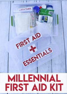 Millennial First Aid Kit - Create this first aid kit for your first apartment or dorm. Free printable labels included. #AdvilRelief #firstaid AD