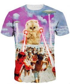 3f7314309269 New Galaxy Cat T Shirt Men 2016 Mens Fashion Garfield Printed Slim Fit  Funny T shirts Brand Short Sleeve Elastic Tshirt Homme