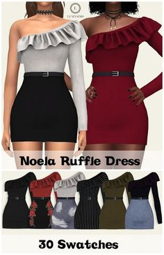 Lumy Sims - Noela Ruffle Dress for The Sims 4