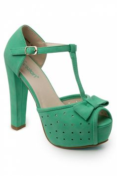 So Vintage - 50s T-Strap Bow Plateau peeptoe pumps sandals in mint