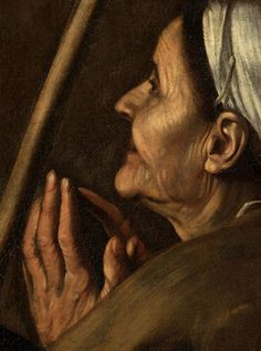 "Detail from Caravaggio's ""Madonna of Loreto"", c.1604."