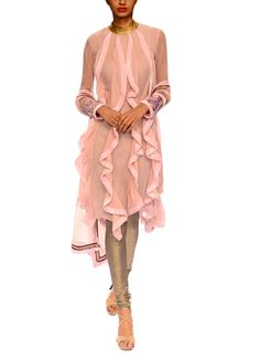 We bring to you a stylish and chic Narendra Kumar outfit that embodies all things feminine and beautiful. The lavender kurta features ruffles in the front and back, tumbling down till the seams. Light accents of gold along the neck and the border of the dupatta match the golden churidar perfectly. The silhouette of the kurta is sophisticated and modern, making it perfect for a day out in style.