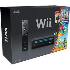 Nintendo Wii Gaming System with New Super Mario Bros. and a Mario Mu - Black