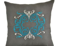 Damask Pillow Cover, Decorative  Pillow, Throw Pillow Cover, Dark Gray Linen,Turquoise Silver Damask Embroidery, Couch Pillow, Accent Pillow