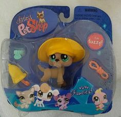 Littlest Pet Shop Brown Fuzzy Great Dane w Teal Blue Eyes 636 NIP | eBay