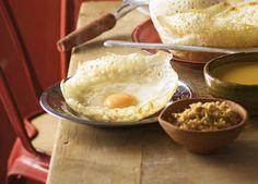 Australian Gourmet Traveller recipe for Sri Lankan egg hoppers by Peter Kuruvita.