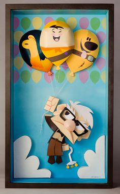 Up shadowbox papertoy, on display at WonderGround Gallery at Downtown Disney!