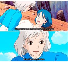 Love howls moving castle sooooo much Howl's Moving Castle, Studio Ghibli Art, Studio Ghibli Movies, Studio Ghibli Quotes, Hayao Miyazaki, Totoro, Howl And Sophie, Animation, Angel Of Death