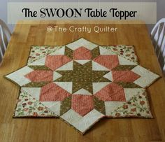 As promised from my previous post, today I'm going to teach you how to turn a Swoon block into a table topper. The Swoon quilt block comes from the pattern, Swoon, by Thimble Blossoms. Each block finishes at so it's a really large square that can. Table Runner And Placemats, Table Runner Pattern, Quilted Table Runners, Quilting Tutorials, Quilting Projects, Quilting Designs, Sewing Projects, Table Topper Patterns, Quilted Table Toppers