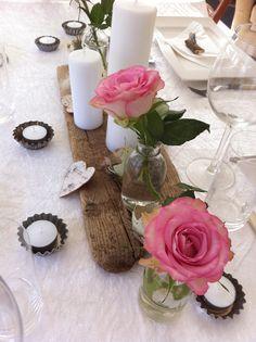 En annan variant med trä på bordet. Passar Tornvillan och skärgårdsstilen...