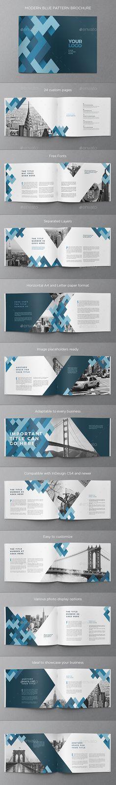 Modern Blue Pattern Brochure Template InDesign INDD