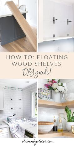Sharing the step by step of how I created floating wood shelves for my kitchen! Wood Shelves, Diy Wood Shelves, Wooden Shelves, Wooden Storage Shelves