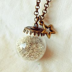 Crystal Ball Necklace with Silver German by DearDelilahHandmade