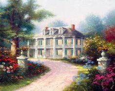 Homestead House Painting by Thomas Kinkade
