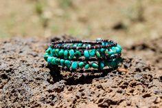 Kingman Turquoise Nugget Wraparound Bracelet by NativeAmericanBling on Etsy