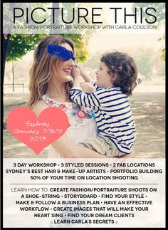 Join me for a fashion inspired portrait workshop in Sydney Aust January 2013 http://carlacoulson.com/working-with-carla/workshops/