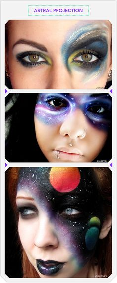 astral projection galactic face makeup for halloween - Eyeshadow For Halloween