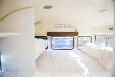 Bedding solution!!!!  Full with a twin bunk over the foot of the bed!  after. our bus rocks. » Simply b Photos