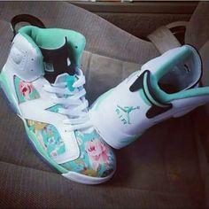 #jordans #mint #floral Jordans Sneakers, Air Jordans, Air Jordan