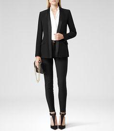 Reiss Charlize Womens Black Sharply Tailored Jacket