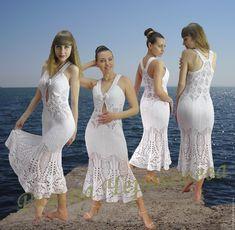 Купить Вязаный сарафан «Улыбка ангела» - белый, вязаный сарафан, сарафан крючком, летний сарафан