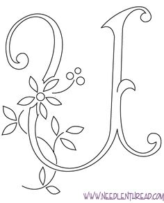 """Monogram for Hand Embroidery: Letter U – Needle'nThread.com She has many different types of embroidery """"fonts"""". Each one more beautiful."""