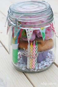 birthday in a jar: balloons, candles, flags, horn, hat, cupcake and other goodies