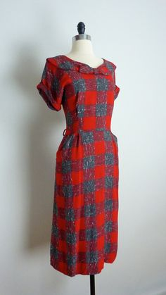 love this with the oversized plaid, collar and bow at the neckline! vintage 1950
