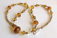 Citrine Necklace with Andalusite Lampwork Beads by Smokeylady54