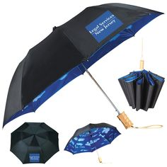 "Promotional Stromberg 46"" Blue Skies Auto Folding Umbrella 